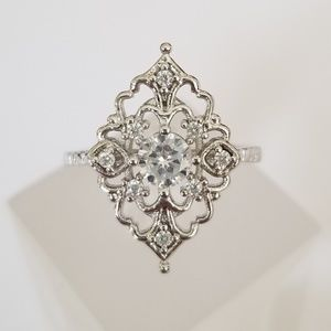 18k Over Sterling Antique Style Ring